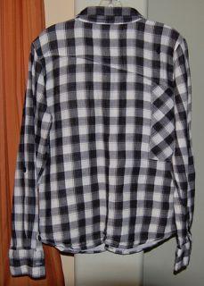 White Black Cotton Checkered Plaid Shirt Youth Boys Large