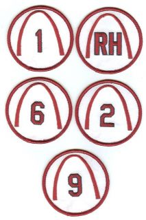 St Louis Cardinals Retired Numbers Patch Set of 10