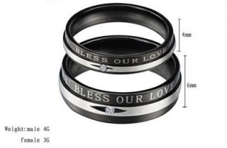 Stainless Steel Wedding Band Bless Love Engraved w/GEM Couple Rings
