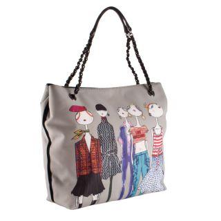 Love Moschino Woman Shopping Bag Satin Taupe Girl Print WLL0209 New