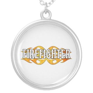Firefighter Double Flames Personalized Necklace