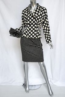 Yves Saint Laurent Black White Polka Dot Skirt Suit Jacket Clutch 3 PC