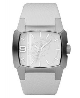 Diesel Watch, White Leather Strap 50x45mm DZ1449