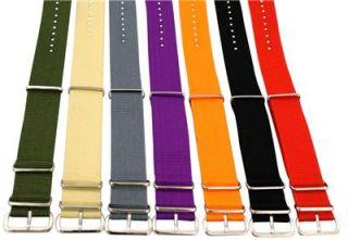 24mm Nylon NATO Solid Watch Band Strap G 10 Fits Timex Seiko Invicta