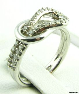 4ctw Genuine Diamond Love Knot Ring 14k White Gold Round Cut SI G H