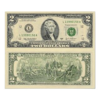Two Dollar Bill Federal Reserve Note Back & Front Poster