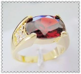 Brand Deluxe New Mens 10KT Yellow Gold Filled 12ct Ruby Ring Size 10