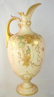 Large Royal Worcester Porcelain Gilt Floral Ewer Pitcher 1897