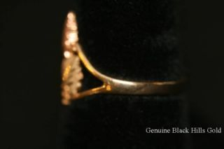 Genuine Black Hills Gold 10KT Ring 12 KT Green Rose Leaves Size 7 New