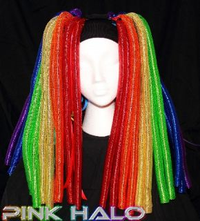 Cyberlox Cyber Falls Technicolor Rainbow Metallic Hair Rave Yarn Dread