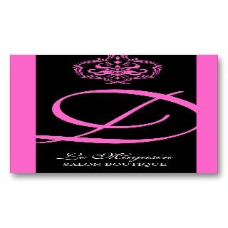 311 Dahlia Damask Monogram Pink Business Card Templates