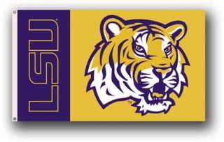 LSU Louisiana Tigers Tiger Head Flag Premium 3x5 Banner Pennant
