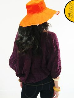 Blouse LSA52 Purple Cotton Batwing Sleeve Shirt Top Ladies Women