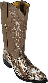 Los Altos Taupe Cream Genuine King Cobra Head Snake Skin Cowboy Boots