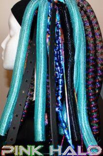 Cyberlox Cyber Falls Aquarius Metallic Teal Blue Black Hair Rave Dread