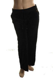 New Black Velour Drawstring Sweatpants Lounge Pants XL BHFO