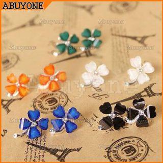 New Sweet Lovely Ladies Four Leaf Flowers Lucky Ear Stud Earrings