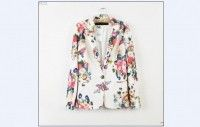 NEW Womens Casual Chic ZARA Colorful Floral Print White Blazer Suit