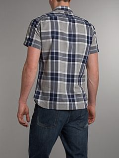 Duck and Cover Short sleeved western check shirt Navy
