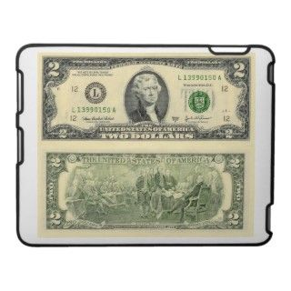 Two Dollar Bill Federal Reserve Note Back & Front iPad Cover