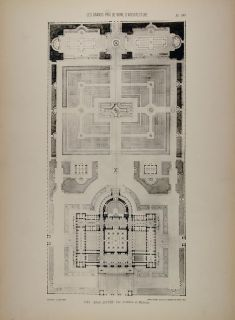 1902 Print 1885 Albert Louvet Architecture Floor Plan Original