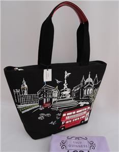 BN Lulu Guinness London Scene Bus Blk Large Tote Shoulder Bag