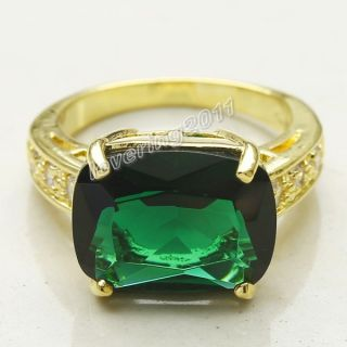 Simple Fashion Ladys 12ct Emerald Amethyst Topaz 18K Gold Filled Ring