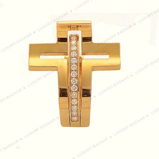 Roger Dubuis 18K Rose Gold Diamond Curved Crucifix Ring