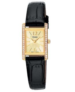 Pulsar Watch, Womens Black Leather Strap PEGC54   All Watches