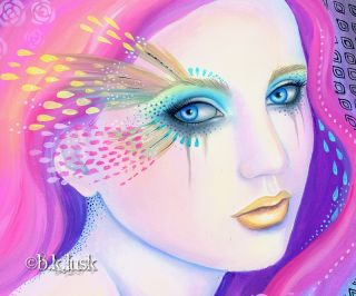 Gaia Flowers Goddess Purple Pink Goth Punk Fantasy Girl Lusk