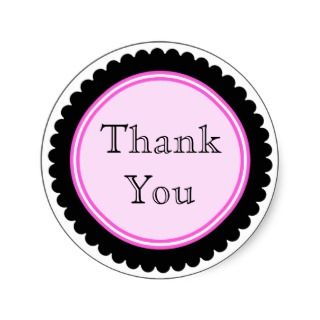 Cookie Cut Black Hot Pink Thank You Stickers