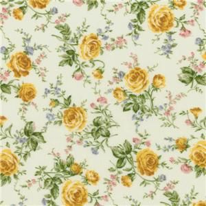 Tyler Texas Rose Parade Shabby Floral Fabric Bom Quilt Kit Blue Yellow