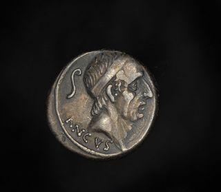 Ancient Roman Republic Silver Denarius of King Ancus Marcius Philippus