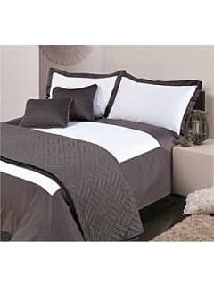 Hotel Collection Oxford king duvet cover set white & grey
