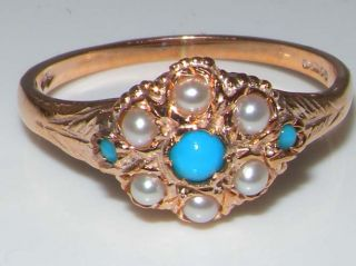 Luxury 9ct Rose Gold Ladies Turquoise Pearl Vintage Style Cluster Ring