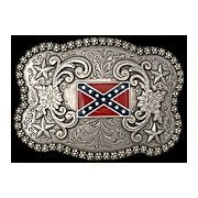 New M F Western Products Silver Scalloped Rebel Flag