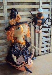 Halloween Primitive Folk Art Doll Spider Pumpkin Pfatt