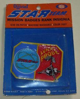 IDEAL STAR TEAM LUNER PROBE MISSION BADGE MOC 1970Unused on very
