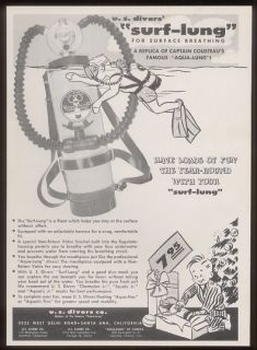 1960 U s Divers Surf Lung Aqualung Dive Diving Ad