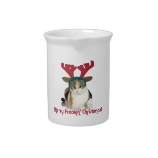 Kitty Cat & Antlers Merry Freakin Christmas Drink Pitchers