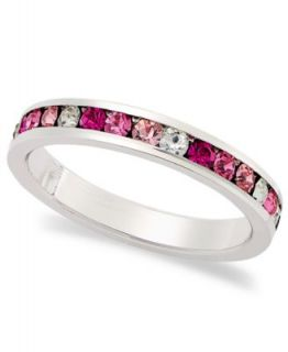 Traditions Sterling Silver Ring, Channel Set Pink and Clear Swarovski