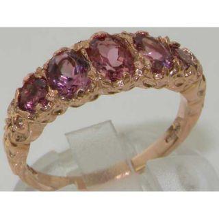 14k Rose Gold Luxury Vibrant Pink Tourmaline Eternity Band Ring