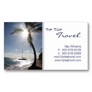 Travel Palm Tree Sun Ocean Boat Business Card by josunshine