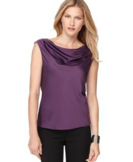 Anne Klein New Purple Charmeuse Drape Neck Sleeveless Blouse Top Shirt