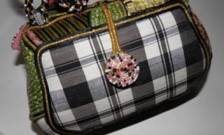 Mary Frances Black Multi Color Art Decorated Bag Purse