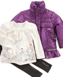 Calvin Klein Baby Set, Baby Girls 3 Piece Coat Coat, Top, and Pant Set