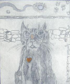 1985 Craig Rubadoux Cat Sarasota Art Halley's Comet Kitten Hand