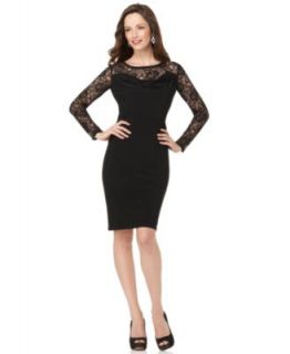 Jones New York New Black Lace 3 4 Sleeves Drape Front Cocktail Evening