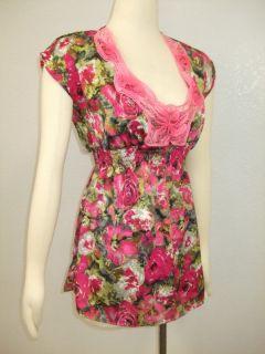 Lush  Floral Print Mini Tunic Dress Sz M Bright Pink Sexy