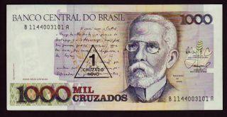 Brazil 1000 Mil Cruzados 1 Cruzado Novo UNC 1989